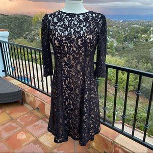 Adrianna Papell black lace a-line midi dress